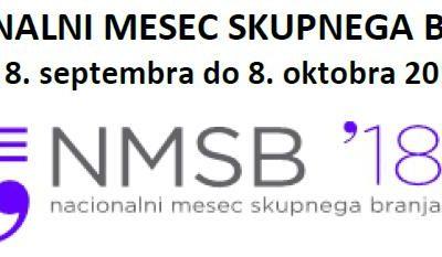 Nacionalni mesec skupnega branja, 8. september 2018 – 8. oktober 2018